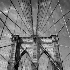 Looking Up At The Brooklyn Bridge In New York City Wallpaper Mural