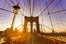 Brooklyn Bridge Sunset  Wallpaper Mural