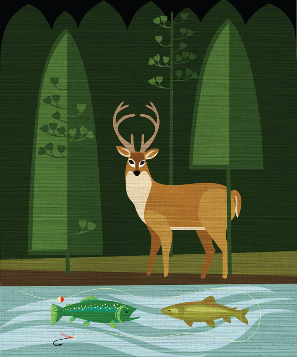 Buck and Fish Mural Wallpaper