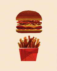 Burger & Fries Mural Wallpaper