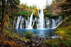 Burney Falls In Autumn Wall Mural