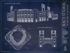 Busch Stadium Blueprint Wallpaper Mural