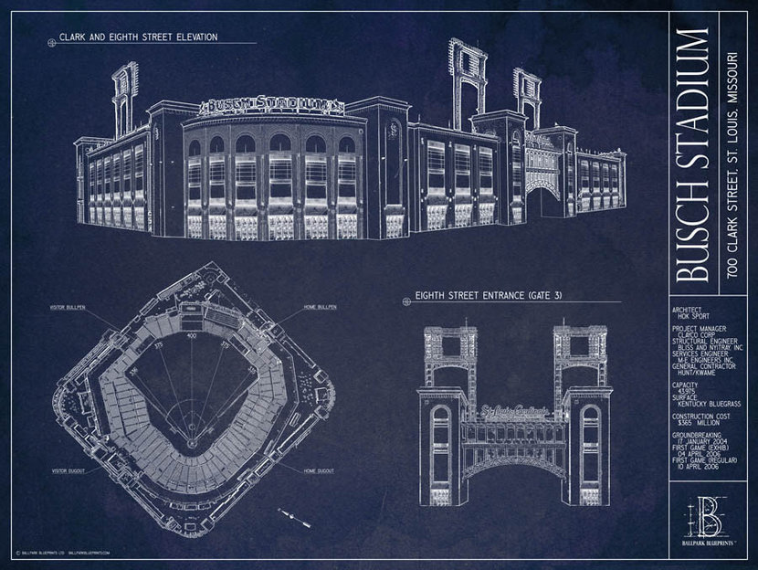 ballpark blueprint of Busch Stadium in St. Louis with architectural drawings and notes