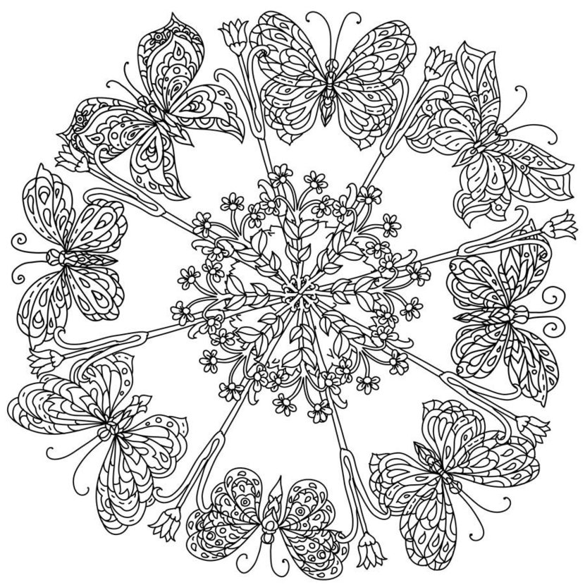 Butterflies And Blooms Mandala colorable image