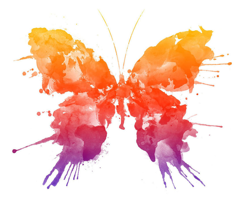 pair of butterfly wings painted in dazzling watercolors
