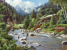 By A River Wallpaper Mural