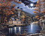 Cabin by the lake with deer in the Fall season wallpaper