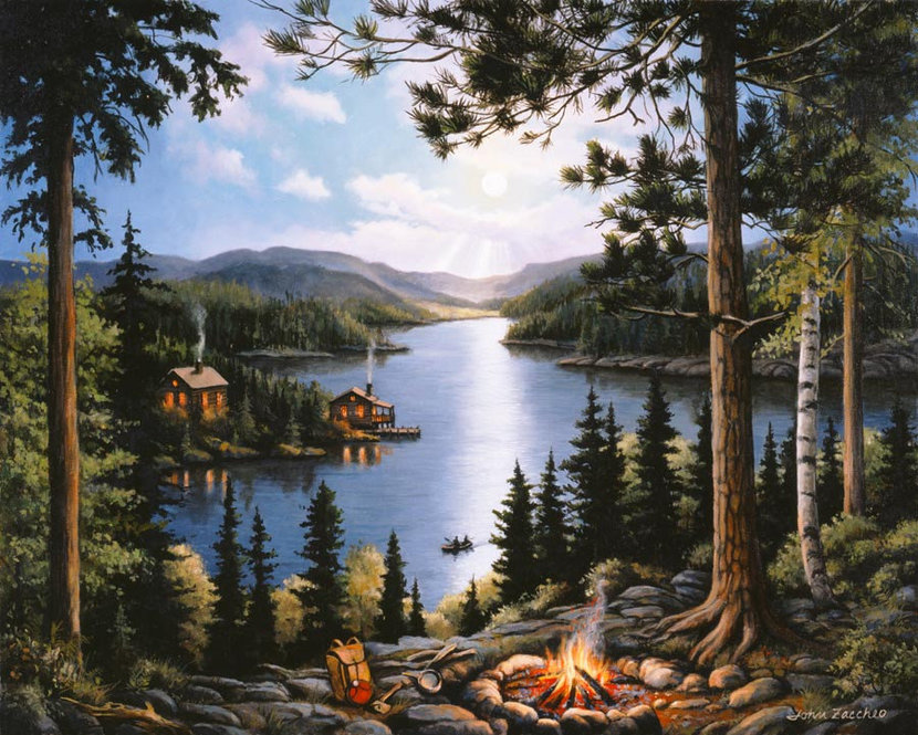 Cabin In The Woods Wall Mural