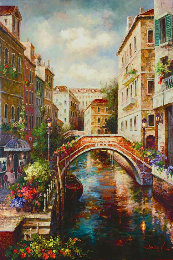 Cafe on the Canal Mural Wallpaper