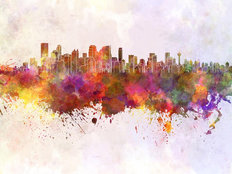 Calgary Skyline In Watercolor Wall Mural