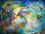 Josephine Wall fantasy art Call of the Sea painting of a beautiful gaia