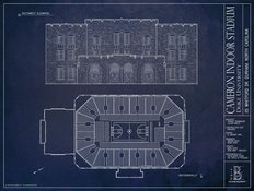 Cameron Indoor Stadium Blueprint Wall Mural
