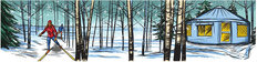 Camping Skiers Wall Mural