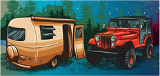 Camping Trailer and Jeep Wall Mural