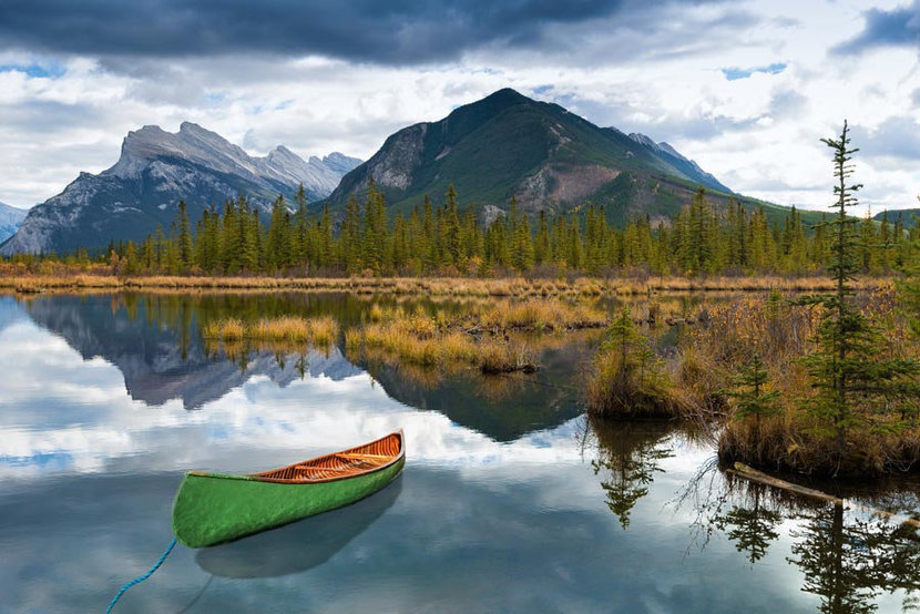 Canoe near Vermilion Lakes and Mount Rundle Wall Mural