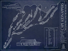 Cape Kidnappers Blueprint Wall Mural