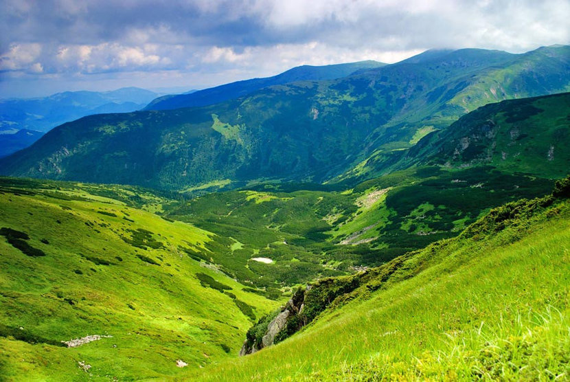aerial view of Carpathian Mountains