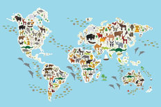 Cartoon Animal World Map Mural Wallpaper