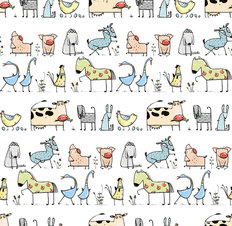 Cartoon Village Animal Pattern Wallpaper
