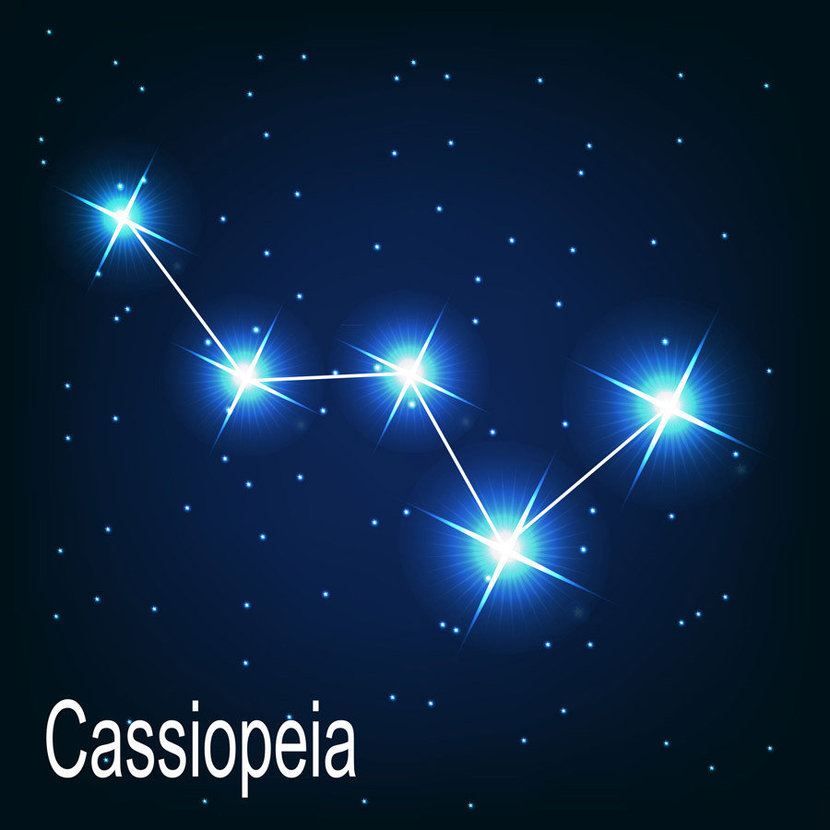 """on a deep midnight blue background, the constellation """"Cassiopeia"""" twinkles brightly"""