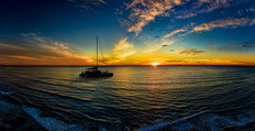 Catamaran at Sunset Mural Wallpaper