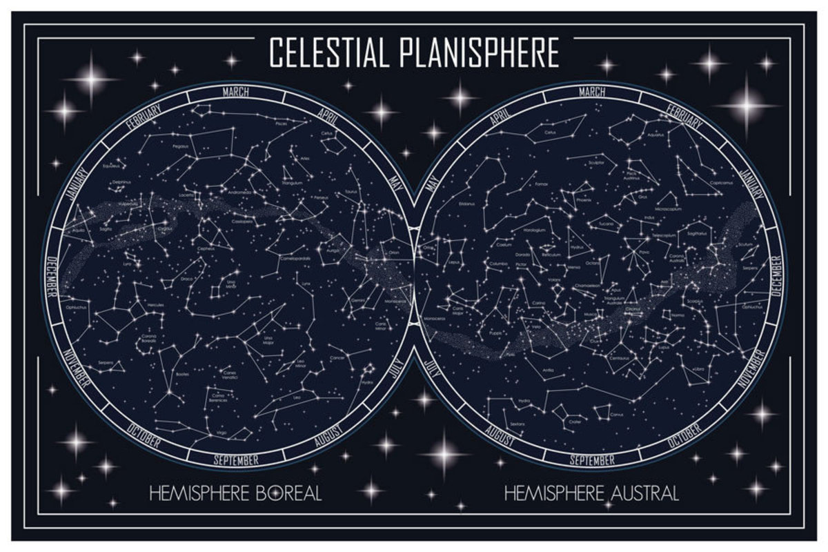 map of the celestial planisphere and constellations is split into two disks