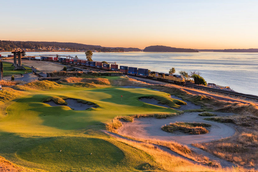 Chambers Bay Golf Course Hole #17 Mural Wallpaper