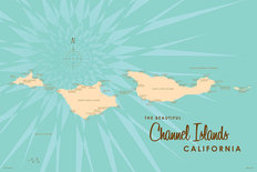 Channel Islands, CA Lake Map Mural Wallpaper
