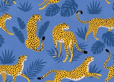 Cheetahs With Tropical Leaves Pattern Wallpaper