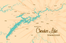 Cherokee Lake, TN Lake Map Wallpaper Mural