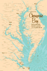 Chesapeake Bay, MD and VA Lake Map Mural Wallpaper
