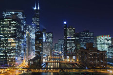 Lights From Chicago Skyscrapers Mural Wallpaper