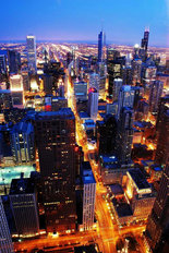 Chicago By Night Wallpaper Mural
