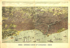 Chicago, IL 1893 Map Wallpaper Mural