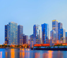 Chicago Lights Reflection Mural Wallpaper