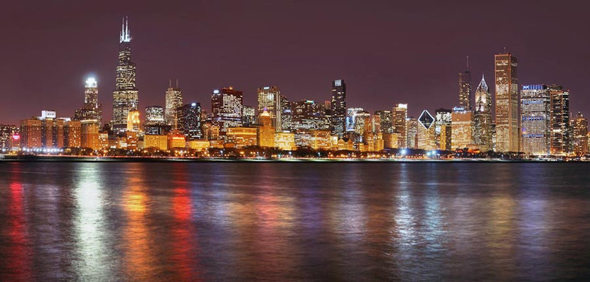 Chicago Lights At Night Wall Mural