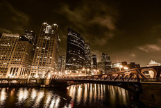 Chicago Night In Sepia Mural Wallpaper