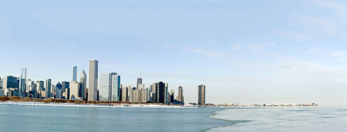 Panoramic Chicago skyline in the winter