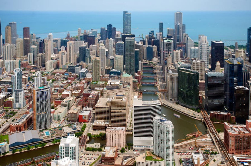 Chicago River - Aerial View Wallpaper Mural