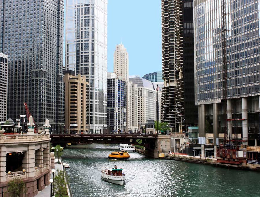 Chicago River And Skyscrapers Wallpaper Mural