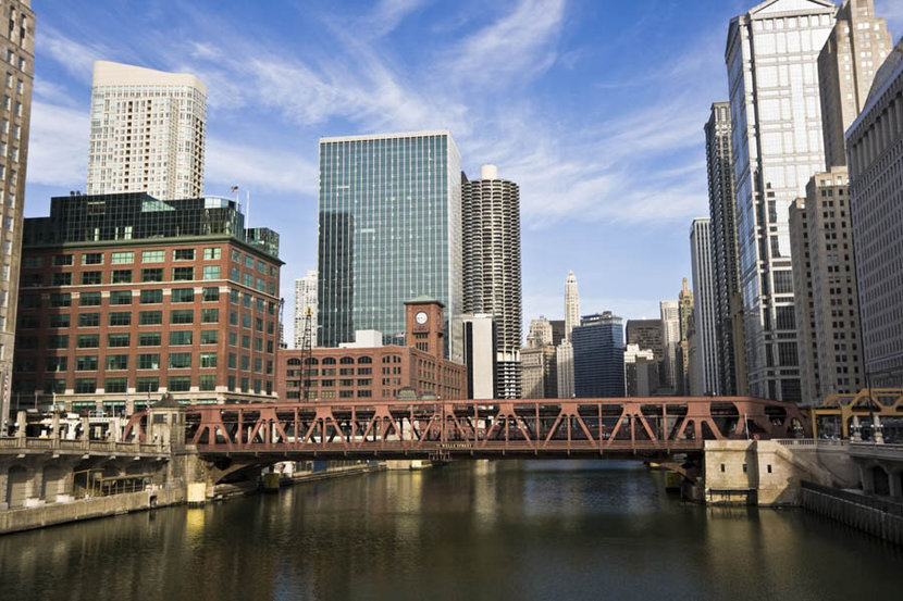Chicago River And Downtown Buildings Wall Mural