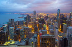Chicago Twilight Sky Wallpaper Mural