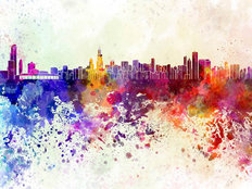 Chicago Watercolor Skyline Wallpaper Mural