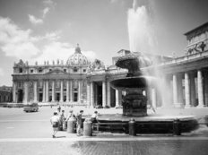 Children playing in the fountain at Vatican City, Rome, 1955 Mural Wallpaper