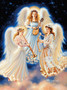 Beautiful choir of angels in heaven playing supernatural music on a harp, lute, and horn