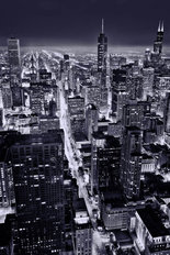 City Of Chicago At Night  Wallpaper Mural