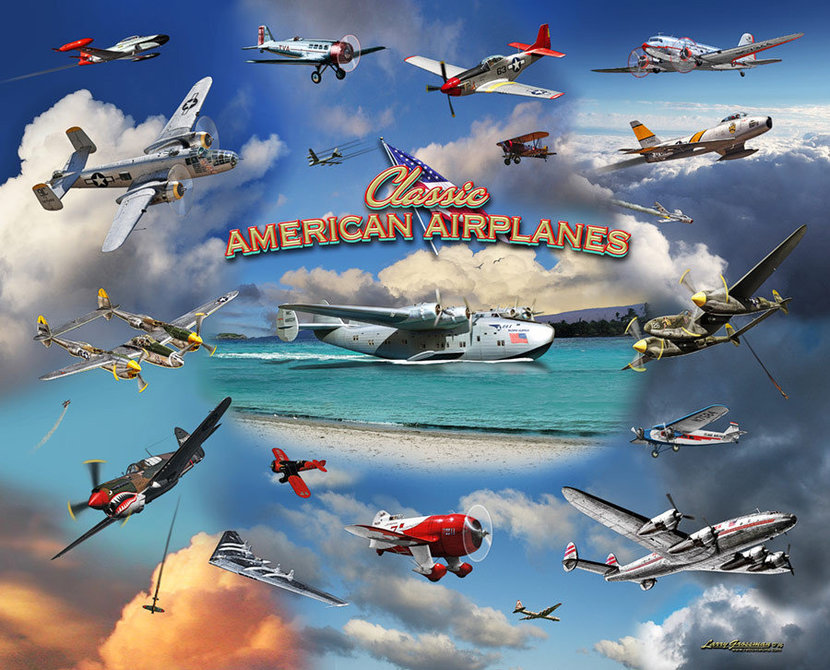 Classic American Airplanes Mural Wallpaper