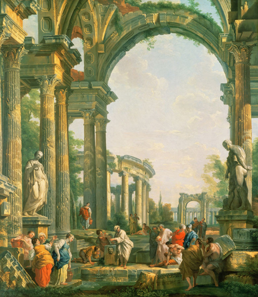 Famous art or painting by Giovanni Pannini of roman ruins with ancient temples