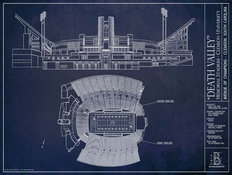 Clemson University Memorial Stadium Blueprint Wallpaper Mural