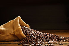 Coffee Beans In Burlap Sack Wall Mural